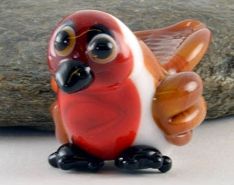 RED Robin, Christmas in June!  Glass Sculpture Collectible, Focal Bead, Izzybeads SRA