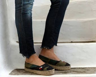 Camo Print Jute Espadrilles with Pin. World Map Print Fabric Slip On Shoes. Women's Shoes. Greek Sandals. Gift for Women