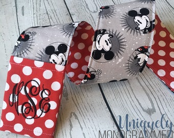 Disney Minnie Mickey Camera Strap-Padded Camera Strap Cover Lens Cap Pocket-Photographer Gift-Disney Grey- Red Dot