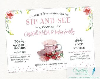 Sip and Sea Invitation - Tea Party Baby Shower - Baby Shower Tea Party Invitation - Tea Party Invitation - Baby Shower Invitation