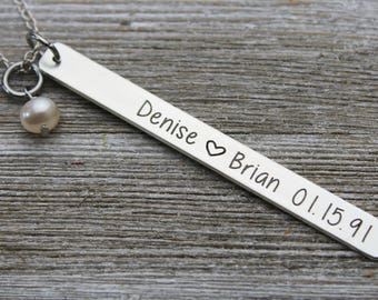 Personalized Wedding name and date long skinny bar necklace, sterling silver