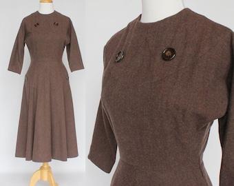 50's Brown Wool Dress with Flared Skirt / 3/4 Raglan Sleeves  / Pockets / Ellen Kaye / XSmall