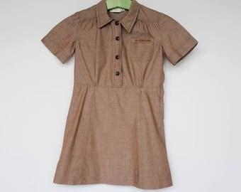 60's / 70's Girls Brownie Girl Scout Uniform / Short Sleeve Shirtwaist Dress