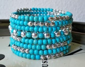 Turquoise and Silver One Wrap Bracelet - small turquoise and silver metal beads - 8 beaded loops Boho chic - Bohemian - Memory wire - bycat