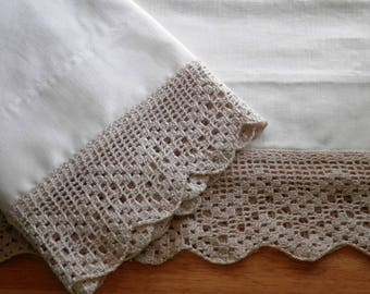 Hand-Stitched Pillowcases, Filet Edging, all in Natural Tone