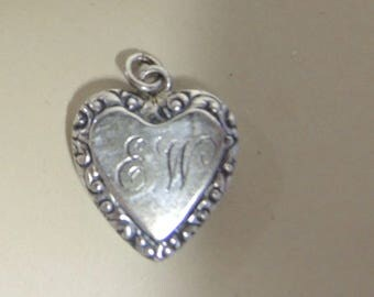 Vintage Sterling Silver Heart Charm, Valentine Heart Charm