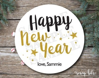 Happy New Year Labels, Holiday Stickers, Simple Christmas Tags, New Year Gift Tags
