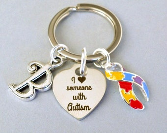 Personalized Autism keyring with heart, initial, multicolor awareness ribbon, I love someone with Autism unisex gift, special needs, puzzle