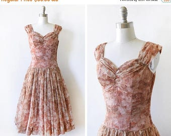 20% OFF SALE 50s floral dress, vintage 1950s chiffon dress, brown floral garden party dress, extra small xs
