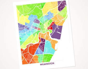 Wilmington DE Map Print.  Choose the Colors and Size.  Delaware Wall Art Poster.