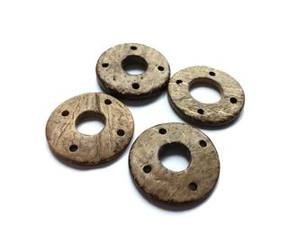 Coconut Rustic Donut Connector, 4 Hole, Beige, 29mm in diameter, Set of 4