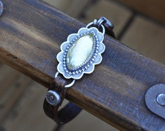 XX RESERVED Xx Sterling Silver Lemon Quartz Bracelet, Citrine Leather Bracelet, Oxidised Silver Studded Gemstone Leather Bracelet