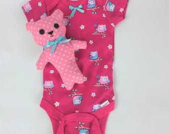 Teddy Bear, pink and white polka dot bear, Only 1 Left, baby owl onesie, 0-3 month, baby bear, baby toy, crib toy, baby shower gift set