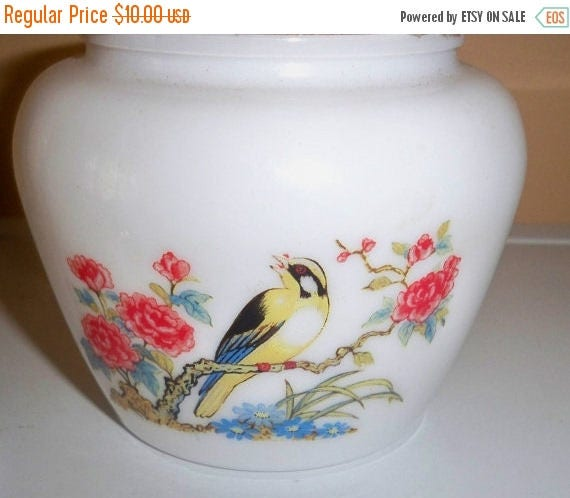 SALE Avon Ginger Candle Jar Milk Glass with Bird and Candle