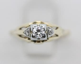 Antique 1940s Diamond Ring, Antique Engagement Ring in 14K Gold, 14K Yellow Gold Ring Size 7 Ring 3 Stone Diamond Ring