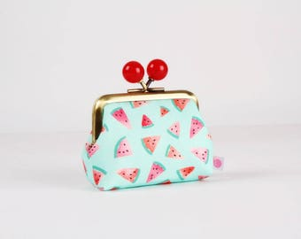 Metal frame coin purse with color bobbles - Watermelon slices on mint - Color mum / Tropical fruits / green fuchsia pink red peach