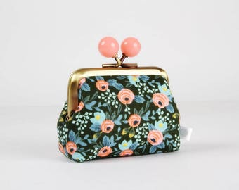Metal frame coin purse with color bobbles - Rosa hunter - Color mum / japanese fabric / Cotton and Steel / blue gray pink