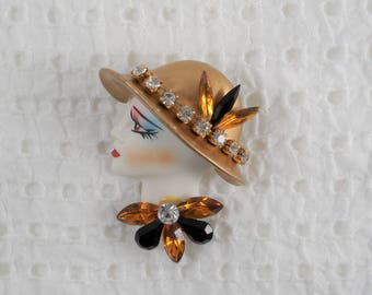 Vintage Retro Sparkling Rhinestones Female Face Brooch Pin