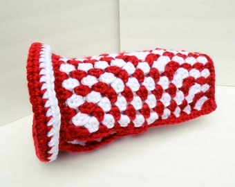 NEW ITEM Dog Sweater, Small Dog Clothing, Red and White Christmas Dog Gift