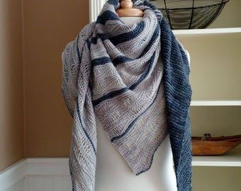 Lace Shawl Knitting Pattern PDF - Making Clouds Shawl - asymetric triangle wrap cowl scarf - easy lace knitting pattern no charts
