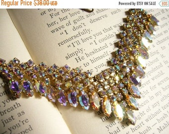 ON SALE Dazzling Vintage AB Rhinestone Necklace - Marquise and Round Cut - Colorful and Sparkling