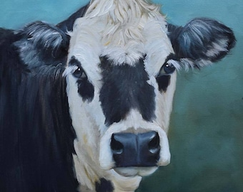 Original Oil Painting Black And White Faced Cow Ms Venus,Farmhouse Chic, Country Home Decor,Canvas Painting By Cheri Wollenberg