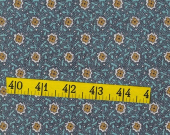 Vintage, cotton fabric,one yard,blue green with tan flowers, quilting, sewing, crafting