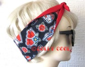 Tattoo Love Hair Tie Print Head Scarf by Dolly Cool Your Choice of Red OR Black Backing Exclusive Fabric Self Designed