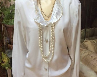 Vintage pleated ruffles collar cuffs white blouse, romantic sheer pleated ruffles off white top, size M made Hong Kong dressy ivory blouse