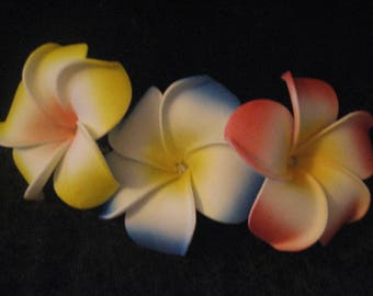 Hawaiian Plumeria Hair Flower Clips