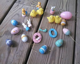 Vintage Easter Ornaments - miniature painted wood bunnies vintage eggs vintage chicks Easter wreaths vintage rabbit wood ornaments