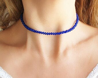 Beaded Choker Necklace Crystal Choker Necklace Navy Blue Necklace Beaded Necklace Crystal Necklace