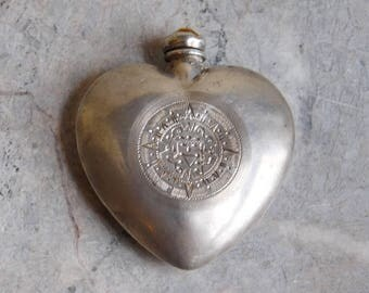 Vintage Mexican Sterling Silver Puffy Heart-Shaped Perfume Bottle - Refillable Scent / Snuff Bottle - Faux Gem on Screw Top - Aztec Etching
