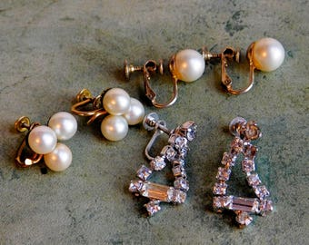 3 Pair Vintage Mid-Century Screwback Earrings - Faux Pearls, Rhinestones - 1 Pair is Gold-Filled - 1960s Retro Jewelry