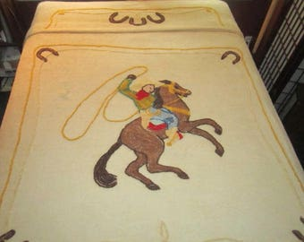Vintage 1950s Fun Cotton Chenille Cowboy Riding Horse Bedspread