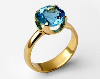 CUP Blue Topaz Engagement Ring, 14k Gold Blue Topaz Ring, Swiss Blue Topaz Ring, Statement Ring