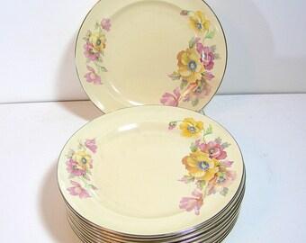 Vintage Floral Dinner Plates, Set of Eleven, Cottage Floral Plates