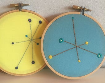 Modern Embroidery, Contemporary Embroidery, Mid Century Design, Art Under 50, Mid Century Fiber Art, Starburst, Yellow,Blue, Hand Embroidery