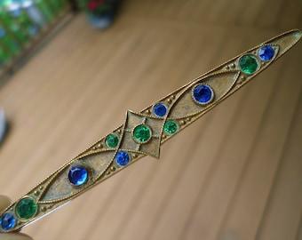 Art Nouveau emerald green & saphire blue crystal bar pin antique BROOCH