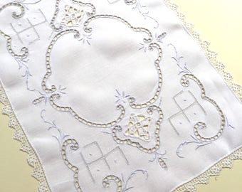 Vintage White Linen Doily with Pale Blue Hand Embroidery