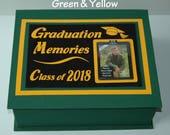 GRADUATION  Memory Box - Choose Year & Colors  - Navy or Royal Blue - Black - Green - Red - Brown or Purple