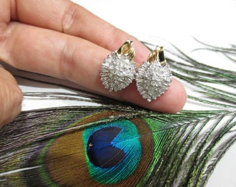 Vintage Diamond Earrings 14K Yellow White Gold Cluster Round Baguette Gemstones Estate Fine Jewelry April Birthstone Pierced Post Clutch