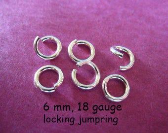 5-100 pcs, Locking JUMP RINGS Jump Locks Jumprings Jumplocks /6 mm, 18 ga, Thick, OPEN, wholesale SJR6mm.plain hp fc.m solo fc.s