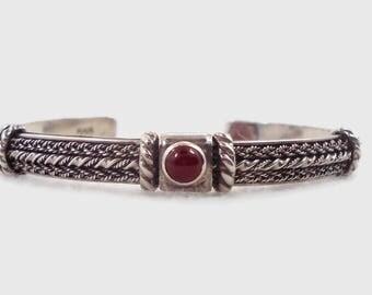 Carnelian Bracelet, Vintage Cuff, Sterling Silver, Heavy Silver, Vintage Bracelet, Red Stone, Ethnic Style,  Vintage Jewelry, Boho, Bohemian
