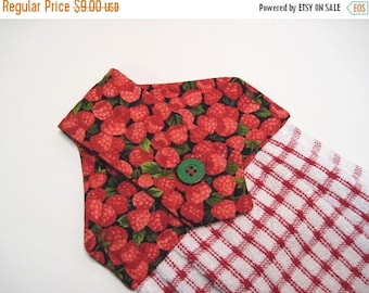 Summer Sale Hanging kitchen towel  button top Red Raspberries   Quiltsy handmade