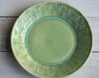 One Handcrafted Dessert Dish in Spring Green Glaze Crackle Glaze Rustic Stoneware Pottery Made in USA Ready to Ship