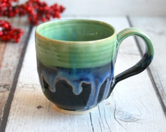 Stoneware Coffee Mug in Dripping Green Over Blue and Black Glazes Handmade Pottery 14 oz. Made in USA Ready to Ship