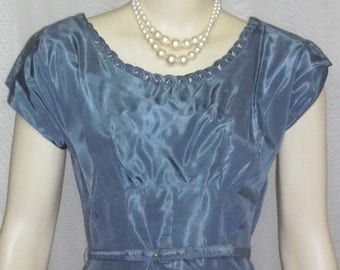 ON SALE Vintage 1940's Leslie Fay Blue Taffeta Full Circle Prom Party Dress Bolero Medium