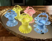 5 Darling Vintage Sweet Mixed Color Party Favor Filigree Baskets Nut Cups