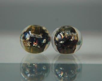 Lampwork Glass Bead Pair (2 spheres)